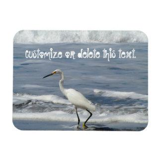 White Egret Fishing; Customizable Rectangular Photo Magnet