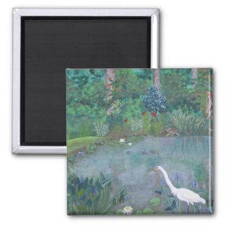 White Egret Fishing in Pond Square Magnet