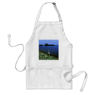 White Egret On Rocky Shore Line Standard Apron