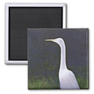 White Egret Square Magnet