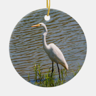 White Egret Tropical Bird Photo Round Ceramic Decoration