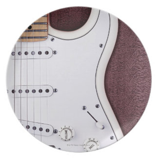 White Electric Guitar 2 Party Plate