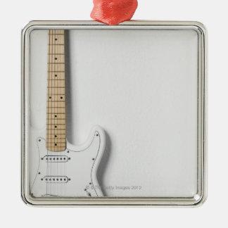 White Electric Guitar 3 Silver-Colored Square Decoration