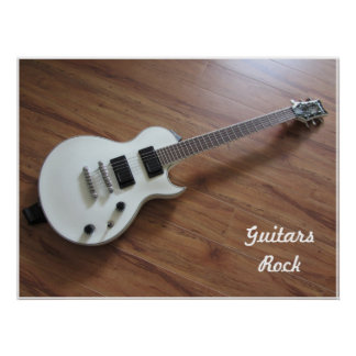 White Electric Guitar Poster