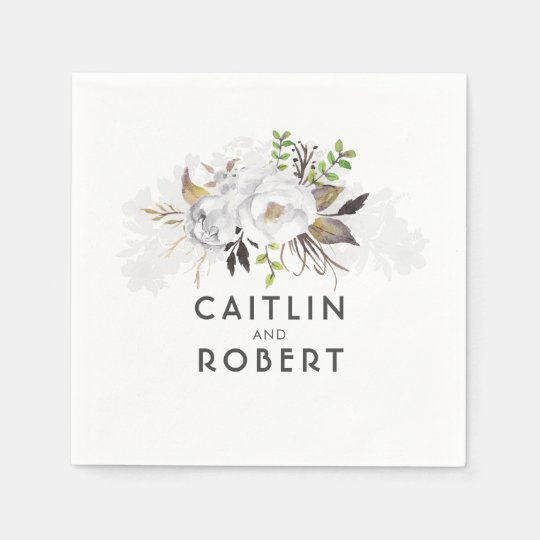 White Elegant Floral Wedding Disposable Serviette