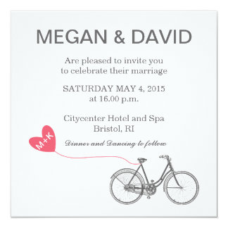 White Elegant Wedding Invitations - Bike and heart