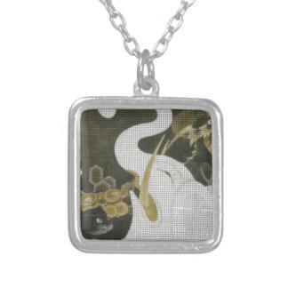 White Elephant and Animals by Ito Jakuchu Square Pendant Necklace