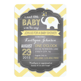 White Elephant and Chevron Baby Shower 13 Cm X 18 Cm Invitation Card