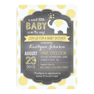 White Elephant and Dots Baby Shower 13 Cm X 18 Cm Invitation Card