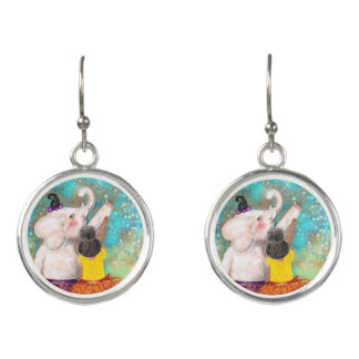 White Elephant and Moon Earrings