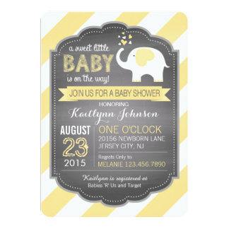 White Elephant and Stripe Baby Shower 13 Cm X 18 Cm Invitation Card