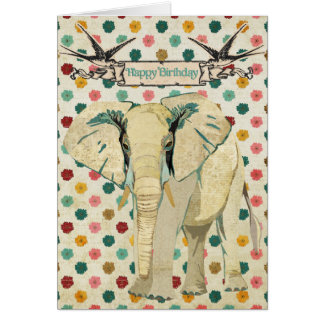 White Elephant Birthday Card
