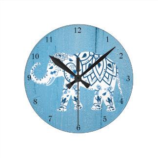 White Elephant Blue Wood Pattern Round Clock