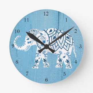 White Elephant Blue Wood Pattern Wallclock