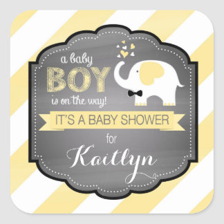 White Elephant Bow-tie Diagonal Stripe Baby Shower Square Sticker