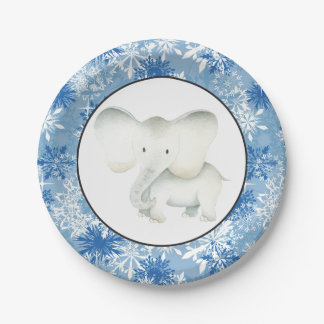 White elephant Christmas snowflake party plate