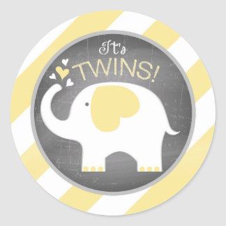 White Elephant Diagonal Stripe Baby Shower Round Sticker