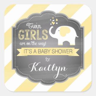 White Elephant Diagonal Stripe Baby Shower Square Sticker
