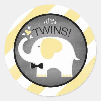 White Elephant Diagonal Stripe Boy Baby Shower Round Sticker