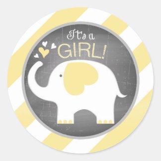White Elephant Diagonal Stripe Girl Baby Shower Round Sticker
