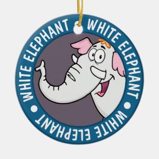 White Elephant Exchange Cartoon Christmas Ornament