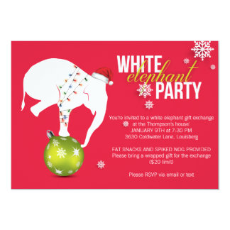 White Elephant Party Invitation | Pink Red