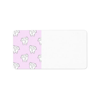 White Elephant Pattern on Pink. Label