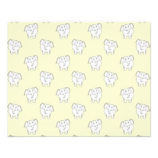 White Elephant Pattern on Yellow. 11.5 Cm X 14 Cm Flyer