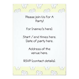 White Elephant Pattern on Yellow. 17 Cm X 22 Cm Invitation Card