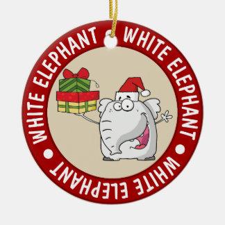 White Elephant Santa Hat Gifts Cartoon Christmas Ornament