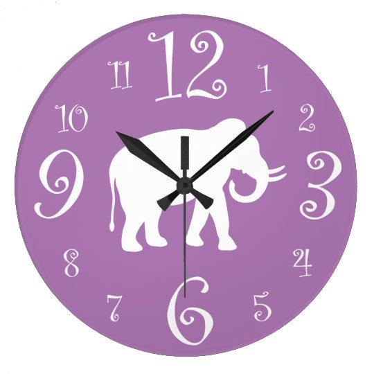 White Elephant Stylish Retro 1950s Purple Kitchen Large Clock