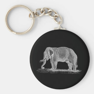 White Elephant Vintage 1800s Illustration Basic Round Button Key Ring