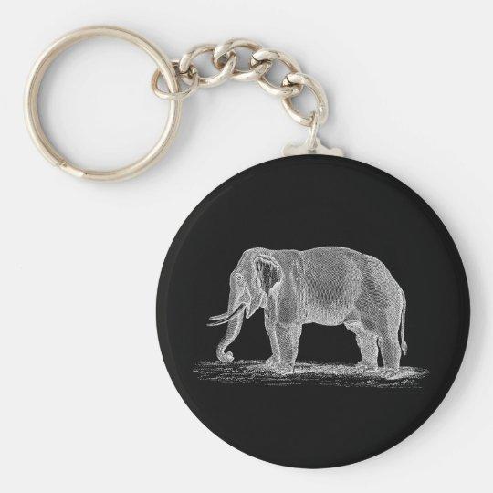White Elephant Vintage 1800s Illustration Basic Round Button