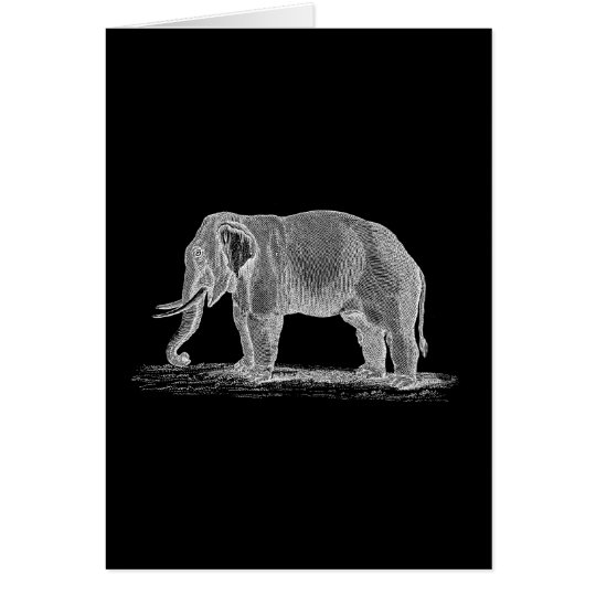 White Elephant Vintage 1800s Illustration Card