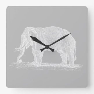 White Elephant Vintage 1800s Illustration Square Wall Clock
