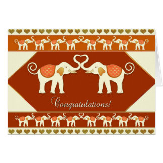 White Elephants in Love Congratulations Card