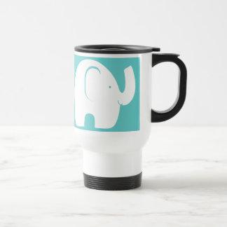 White Elephants over Aqua Travel Mug