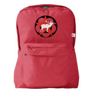 White Elk Red Star Drawstring Backpack
