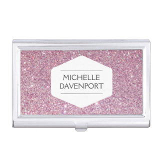 WHITE EMBLEM ON PINK GLITTER Business Card Holder