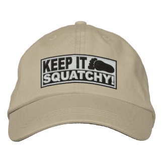 White EMBROIDERED Keep It Squatchy - Bobo s Embroidered Baseball Cap