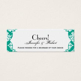 White Emerald Green Damask Wedding Drink Ticket