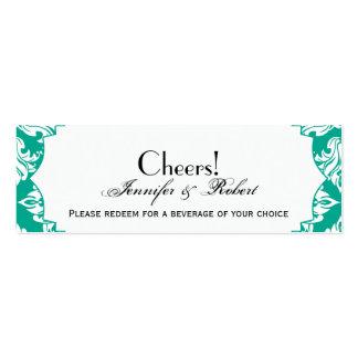 White Emerald Green Damask Wedding Drink Ticket Business Card Templates