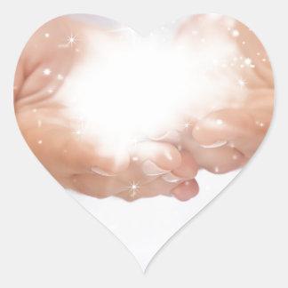 white energy healing hands reiki healer shaman heart sticker