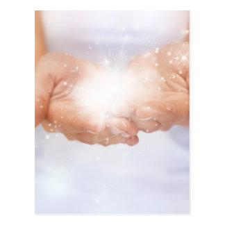 white energy healing hands reiki healer shaman postcard