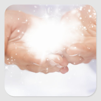 white energy healing hands reiki healer shaman square sticker