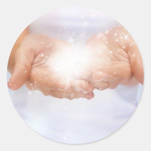 white energy healing hands reiki healer shaman round sticker
