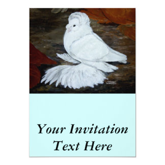White English Trumpeter 13 Cm X 18 Cm Invitation Card