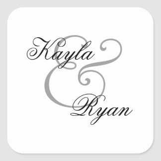 White Envelope Seal Wedding Square Sticker