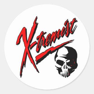 White Extremist Skull Round Sticker