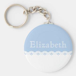 White Eyelet Lace on Blue Personalized Basic Round Button Key Ring
